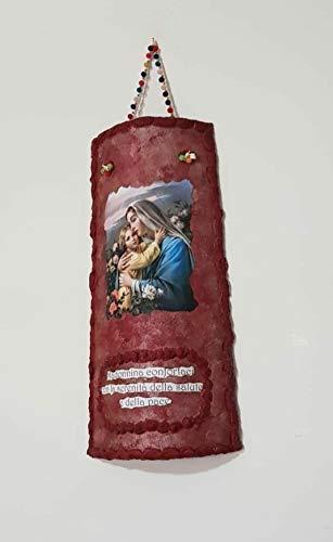 Tegola dipinta a mano decorata con immagine religiosa Madonna con Gesù realizzate in terracotta