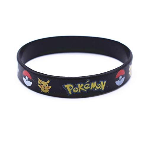 Xi-Link Kinder-Armband-Freundschaft-Armband Pokemon Go Team Gummi Silikon-Armband-Armbänder-Geburtstags-Party Schmuck Geschenke (Length : 18cm, Metal Color : Black)