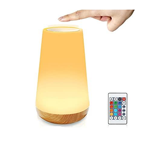 Lámpara de Mesita de Noche Moderna con Batería Recargable,RANJIMA Lámpara de Mesa,Luz Nocturna LED para Dormtorio,Sala de Estar Habitación para Niños,Oficina,Cambo de RGB para Camping,ControlT