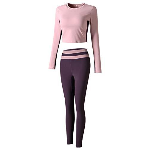 ILHF Damen Trainingskleidung, langärmelige neun-Punkt-High-Taille-Yoga-Leggings, mit Brustpad, Training Kleidung Set,Lila,M