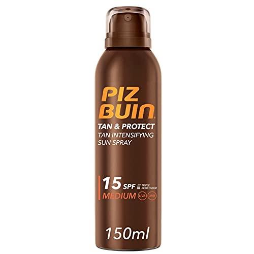 Piz Buin, Tan & Protect Protector Solar en Spray, Acelerador del Bronceado SPF 15, 150 ml