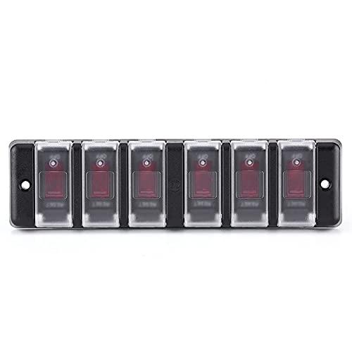 Interruptor basculante, panel de interruptores de coche, placa frontal de interruptor profesional impermeable, panel de interruptores de 6 bandas, práctico para yates para barcos