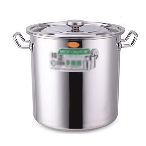 Utensilios de cocina al vapor Pottinerario, cocina de catering/hogar espesado 304 acero inoxidable, olla de sopa profunda con tapa para estufa de gas/cocina de inducción (20-90L) Charola para horn