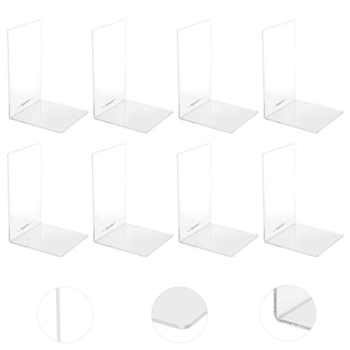 【PINREK】 4組セット 本立て のプラスチック製のブックエンド 、アクリルブックエンド丸い角を帯びた、ノンスリップクリアブックエンド 卓上収納 ファイル/雑誌/新聞/CD/辞書/書類入り 事務用品 文房具 おしゃれ 多機能 耐久 使用便利 透明L型