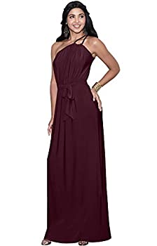 KOH KOH Plus Size Womens Long Sleeveless One Shoulder Cocktail Evening Formal Bridesmaid Bridal Wedding Party Summer Sexy Cute Maternity Gown Gowns Maxi Dress Dresses Maroon Wine Red 2XL 18-20