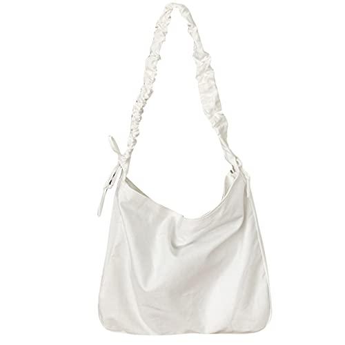 ZSDFW Bolsa de lona para mujer, con cordón ancho, bolsa de hombro, grande, de algodón, para viajes, uso diario, color blanco