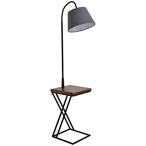 HOMCOM Lámpara de Pie con Mesita Iluminación Interior Moderno Foco de Luces...