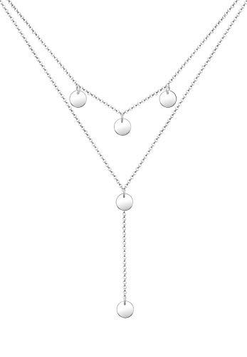 Elli Halskette Damen Y-Kette Geo Layer Kreis Plättchen in 925 Sterling Silber in 38cm Länge