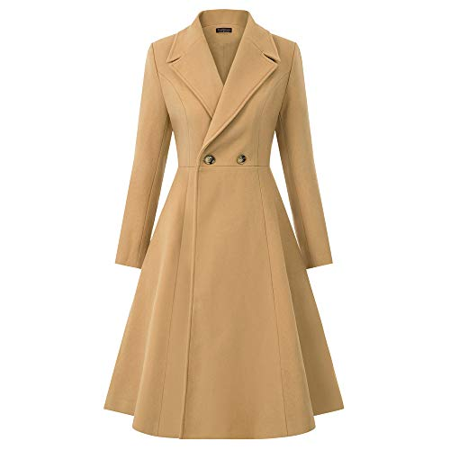 Curlbiuty dames wol mantel swing twee rijen PEA coat revers trenchcoat winter lange jas outwear