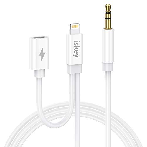 Auto Aux Kabel für iPhone mit Ladeanschluss, Audiokabel 2-in-1, 3,5 mm Aux Kabel für iPhone 8/7/8 Plus/11/11 Pro/X/XR/XS/XS Max zum Autoradio/Lautsprecher/KopfhörerAdapter(1m)