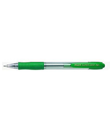Pilot - Boligrafo super grip verde -retractil -sujecion de caucho -tinta base de aceite (12 unidades)