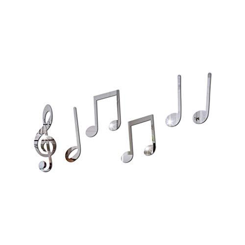 jieGorge Vinilo extraíble, Nota Musical, Adhesivo para Pared, decoración del hogar, Mural, calcomanías de Bricolaje, decoración del hogar, para el día de Pascua (Plata)