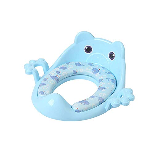 JIEER-C Ergonomische stoel, toiletbril, pannen, toiletbril voor peuters, trainingsstoel met zachte kussengrepen voor ronde ovale toiletten met dubbele anti-slip design en spri lichtblauw 1