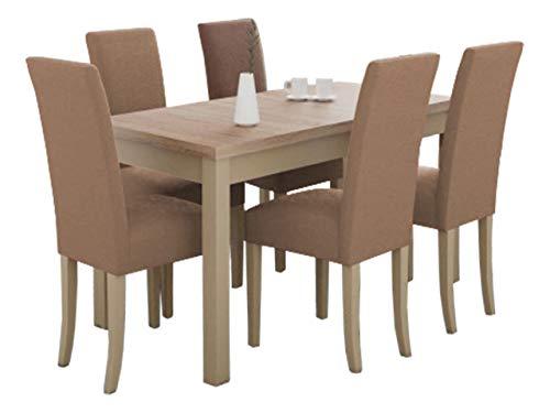 Mirjan24 Esstisch mit 6 Stühlen DM58, Esstischgruppe, Sitzgruppe, Esszimmer Set, Küchentisch, Esstisch Stuhlset, Esszimmergarnitur, DMXZ (Sonoma/Sonoma Etna 22)
