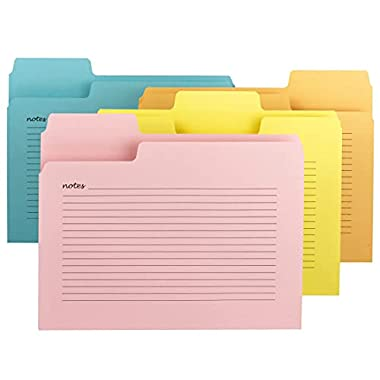 Smead SuperTab Notes Folder, Oversized 1/3-Cut Tab, Letter Size, Assorted Colors, 12 per Pack (11650)