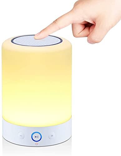 Altavoces inalámbricos Bluetooth táctil regulable lámpara de noche luz de noche, tarjeta TF apoyada, reproductor Muisc manos libres, tamaño portátil para dormitorio, oficina sala de estar
