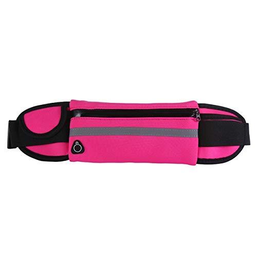 Riñoneras Unisex Impermeables Riñoneras para Hombre Riñoneras con cinturón para Mujer Riñoneras con Tiras Reflectantes Carteras móviles para Hombre Bolsas pequeñas Patchwork - Impermeable Rojo Rosa