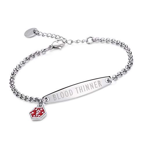 linnalove-Pre-Engraved Simple Rolo Chain Medical id Bracelet for Women-Blood THINNER