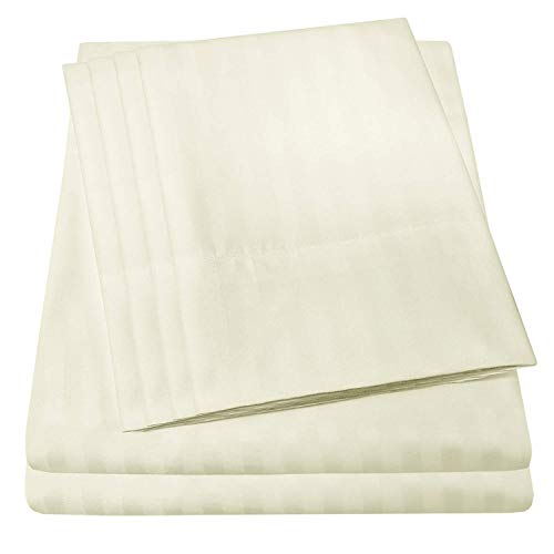 RRlinen 6 Piece 800 Thread Count 15'' Deep Pocket Twin Sheet Set with 2 Extra Pillow Cases Long Staple Cotton Sheets Ivory Stripe Soft and Comfortable Bedding Set (Twin, Ivory Stripe)