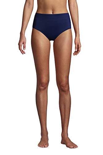 Lands' End Womens Chlorine Resistant High Waisted Bikini Bottoms Control Deep Sea Navy Regular 10