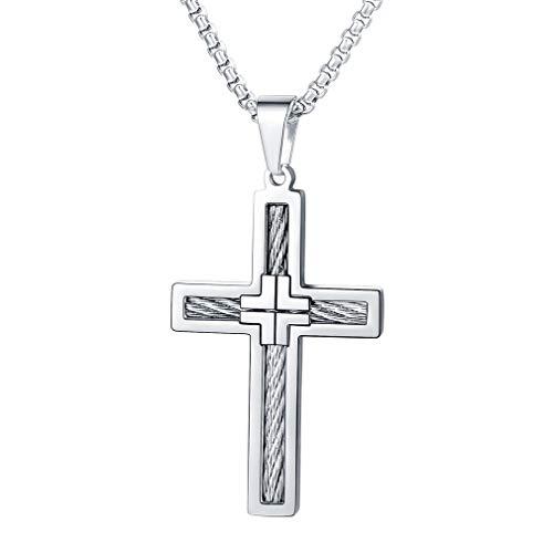 FaithHeart Schmuck Kreuzanhänger aus Edelstahl Kreuz Halskette Silberfarbene Ketten für Herren Damen Frauen