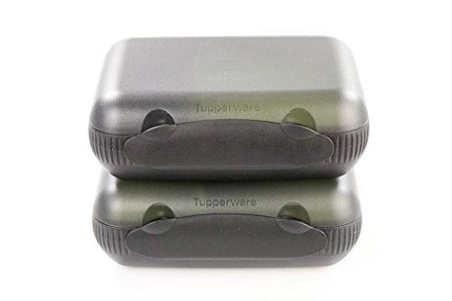 TUPPERWARE 2x Lunchbox mit Trennung To Go schwarz/gelb-grün 9963