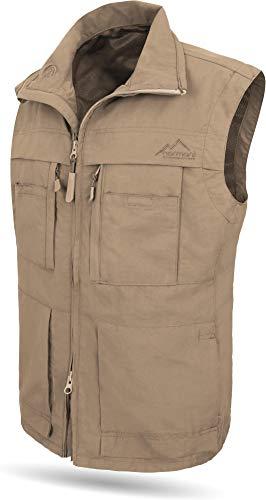 normani Outdoorweste für Herren - aus Atmungsaktivem Sonnenschutzmaterial +50°C, in S -5XL erhältlich Farbe Khaki Größe S