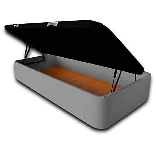 Ventadecolchones - Canapé Modelo Serena Gran Capacidad Apertura Lateral tapizado en Polipiel Gris Medidas 105 x 200 cm con Tapa en Tejido 3D
