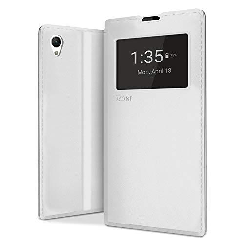 NessKa® Sony Xperia Z1 Hülle | Handy Schutz in Idealion | Flip Hülle Buch Tasche Handyhülle mit Kartenfach, Fenster, Innen Silikon & Standfunktion aus hochwertigem Kunstleder in Weiß