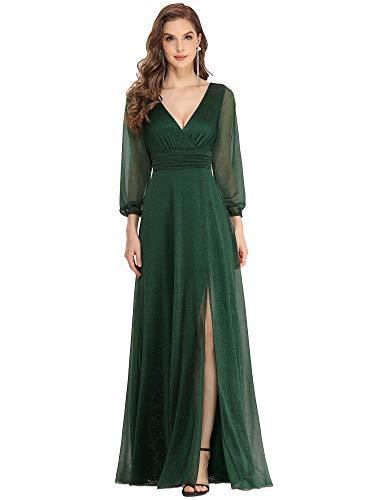 Ever-Pretty Vestiti da Cerimonia Donna Elegante Manica Lunga Scollo a V Abiti da Sera Stile Impero Brillantini Verde Scuro 36