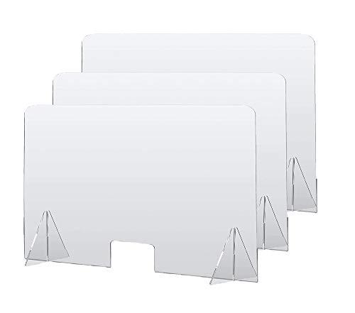 DQSG Mampara de metacrilato Transparente 115 x 75 cm (Ancho x Alto), con ventanilla, para ser usadas en mesas oficinas, mostradores recepción, Puestos de atención al Cliente. Envío rápido