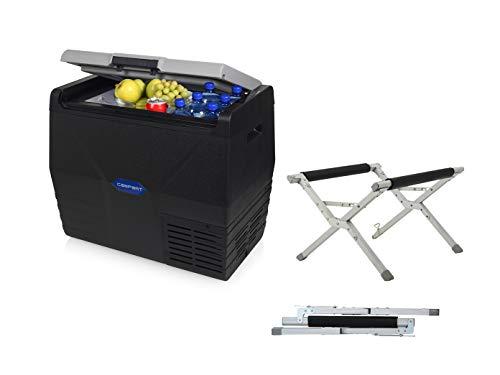 Nevera portátil con compresor eléctrico, soporte plegable, 35 litros, conexión de 12/230 V, en antracita