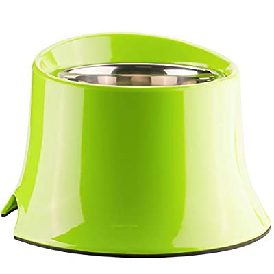 Super Design Elevated Dog Bowl Raised Dog Feeder for Food and Water 4 Cup Green