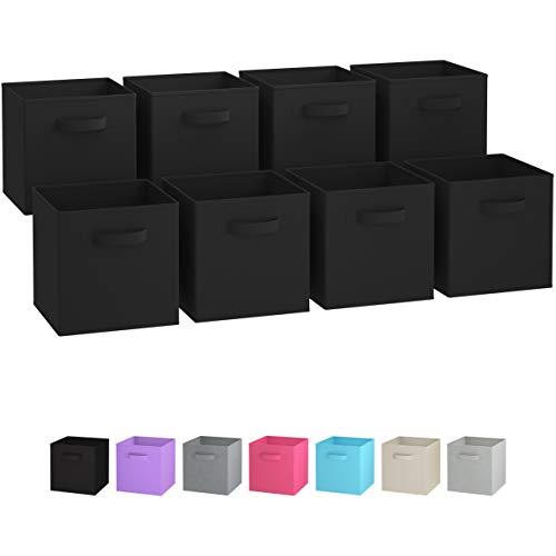 Royexe Storage Bins - Set of 8 - Storage Cubes | Foldable Fabric Cube Baskets Features Dual Handles. Cube Storage Bins. Closet Shelf Organizer | Collapsible Nursery Drawer Organizers (Black)