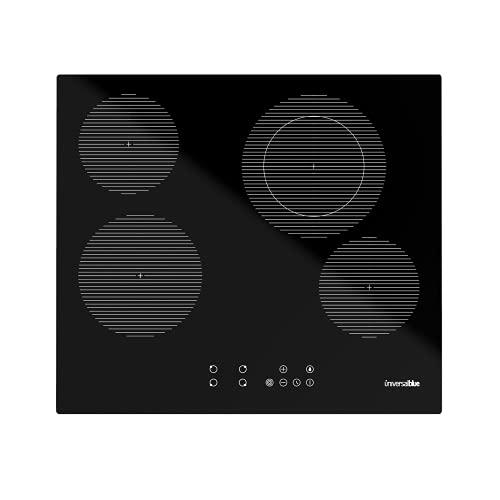 UNIVERSALBLUE Placa Vitrocerámica 4 Fuegos | Negra | Cristal Templado | Potencia 6400 W | Control Táctil | Temporizador