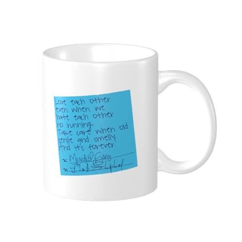 Derek and Meredith's Sticky Note Vows - Taza de café de cerámica...