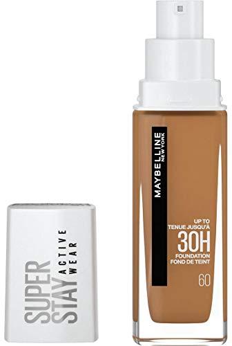Maybelline New York, Base de maquillaje Superstay Active Wear 30H, Larga duración, Waterproof, Alta cobertura, Acabado mate, Tono 60 Caramel, 30 ml