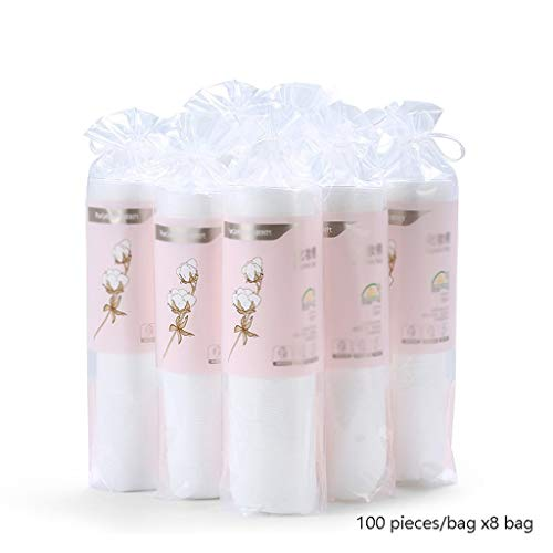 DUOER HOME Gesichtsmake-up Entferner 100 Teile/Beutel * 8 Beutel runde Baumwolle Baumwolle Make-up Make-up entferner Baumwolle Dicke doppelseitige Baumwolle pad (Color : White)
