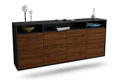 Dekati Sideboard Concord hängend (180x77x35cm) Korpus anthrazit matt | Front Holz-Design Walnuss | Push-to-Open
