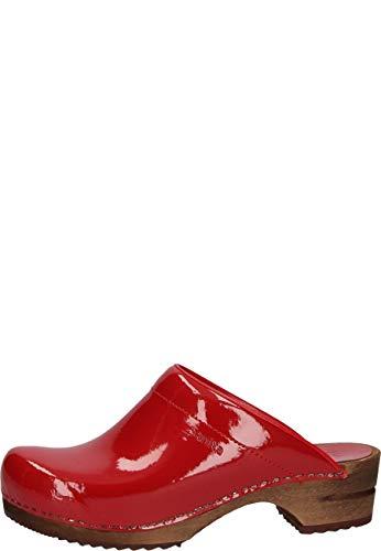 Sanita | Classic Patent Abierto | Zuecos Original Hecho a Mano para Mujer | Piel y Madera | Rojo | 39