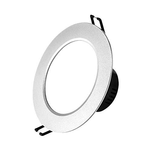 YBright Einbauleuchte Beleuchtung 5W gebürstetes Silber Deckenverkleidung Lampe Montageloch Ø75-95mm brandschutzklassifiziert Runde Spotlight Deckenleuchte for Badezimmer, Dusche, Küche