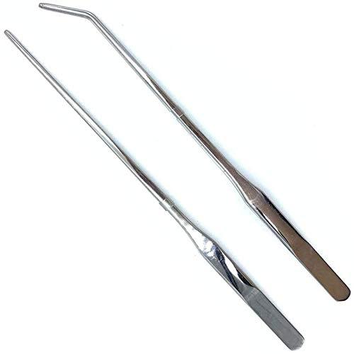 Wzong 2 pinzas para acuarios extralargas, de acero inoxidable, rectas y curvas, pinzas largas de alimentación para acuarios de 10,6 pulgadas (27 cm), color plateado