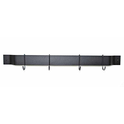 "Rogar 1310 36"" Bar Rack, Black with Black Hooks"