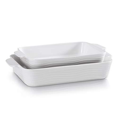 Bakeware Set, Ceramic Baking Dish Set, Porcelain Casserole Dish for Cooking, Large Porcelain Baking Pans, Non-stick Bread Baking Pans, Roasting dish, 2Piece -White JH JIEMEI HOME