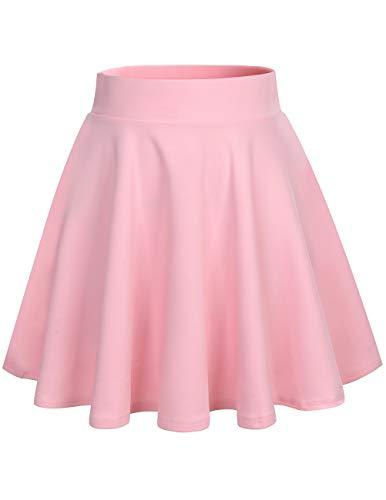 bridesmay Damenrock Basic Solid Vielseitige Dehnbaren Informell Minikleid Retro Mini Rock Faltenrock Pink M