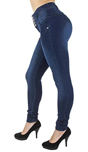 Plus Size, High Waist, Butt Lift, Levanta Cola, Skinny Jeans in Dark Blue Size 16