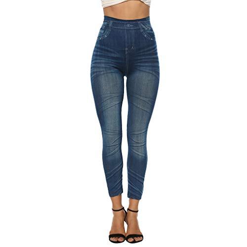 GreatestPAK Damen Druck Jeans Bottoms Overshoot Slim Pants Imitation Denim Leggings Hüften Stretch Caprihose,Blau,M