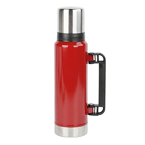 Botella de acero inoxidable para enfriar durante 24 horas y mantener el calor 12 horas, 1,2 l, sin BPA, termo a prueba fugas, niños, escuela, deportes, exteriores, bicicleta, fitness, camping (rojo)
