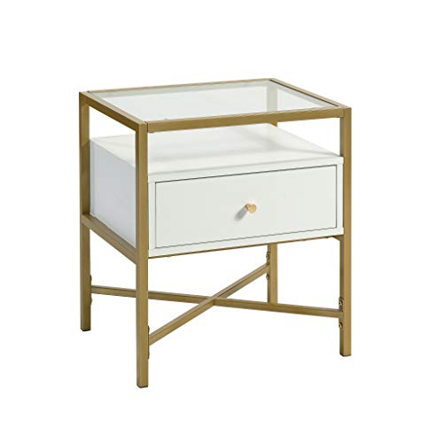 Sauder Harper Heights Contemporary Glass Top Side Table with Storage, L: 19.69' x W: 15.55' x H: 21.73', White