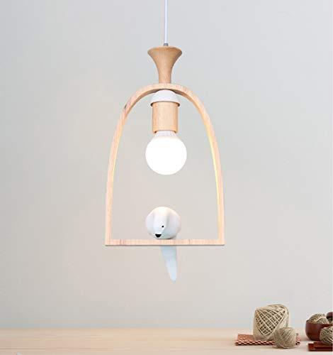 E27 lámpara colgante de araña madera blanca para mesa de comedor diseño de pájaro creativo lámpara de techo moderna sala de estar dormitorio cocina cafetería bar infantil lámpara de madera ajustable